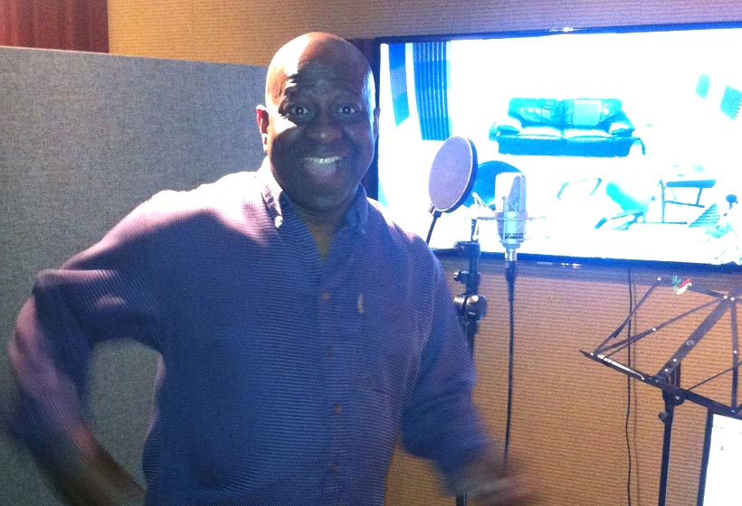 Dave Benson Phillips recording the voice of 'Dr. Woof' for CBeebies animated series 'Boj'