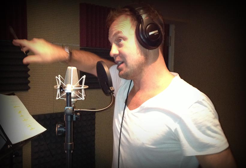 Jason Donovan recording the character of 'Pops' in the CBeebies animated series 'Boj'.